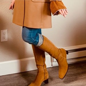 Ann Taylor Suede Tall embroidered boho boots 8.5